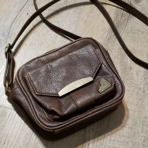 Brown vegan leather crossbody bag